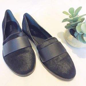 Vince Black Calf Hair and Leather Flats